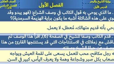حل أسئلة رواية الشيخ والبحر لغة عربية صف عاشر فصل ثالث