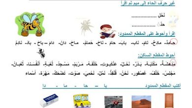 Photo of أوراق عمل 2 لغة عربية صف أول فصل ثالث