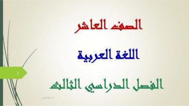 Photo of حل جميع الدروس لغة عربية صف عاشر فصل ثالث
