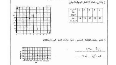 Photo of صف ثامن فصل ثالث رياضيات ورقة عمل الوحدة التاسعة التمثيلات البيانية