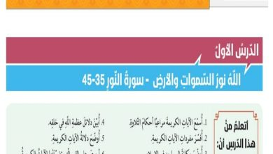 Photo of صف ثاني عشر فصل ثالث دين حلول درس الله نور السموات والأرض تربية إسلامية