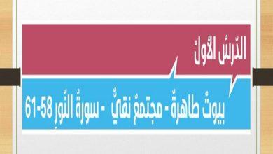 Photo of صف ثاني عشر فصل ثالث دين حلول درس بيوت طاهرة