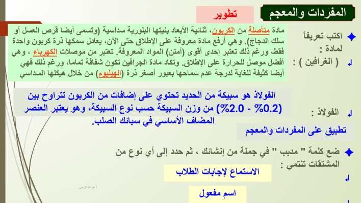 درس الغرافين مادة المستقبل مع الاجابات لغة عربية