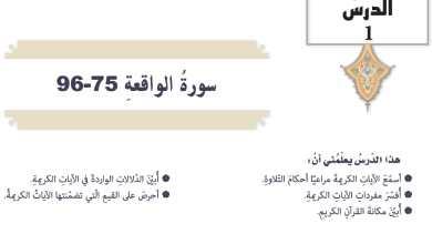 Photo of حل درس سورة الواقعة 75 – 96 تربية اسلامية الصف التاسع