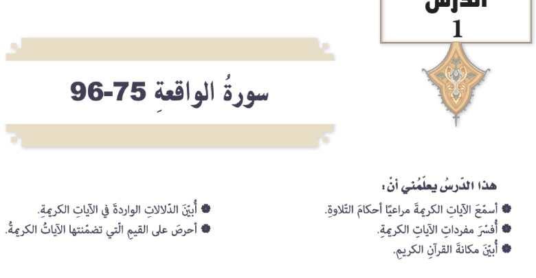 حل درس سورة الواقعة 75 - 96 تربية اسلامية الصف التاسع
