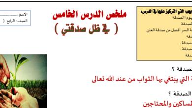 Photo of ملخص درس في ظل صدقتي تربية إسلامية صف رابع فصل ثالث