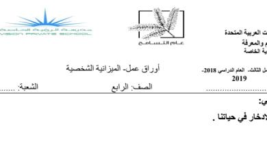 Photo of ورق عمل الميزانية الشخصية دراسات اجتماعية صف رابع فصل ثالث