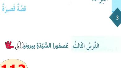 Photo of حل درس عصفورا السيدة بيرونيه لغة عربية صف سابع فصل ثالث