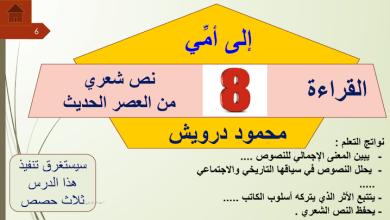 Photo of حل درس إلى أمي لغة عربية صف ثاني عشر فصل ثالث