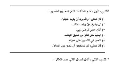 Photo of ورق عمل أدوات نصب الفعل المضارع لغة عربية صف ثامن فصل ثاني