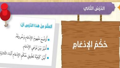 Photo of صف سادس فصل ثاني حكم الادغام تربية إسلامية