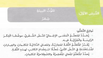 Photo of صف سادس فصل ثاني لغة عربية درس تلوث البيئة