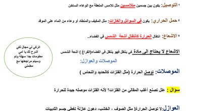 Photo of صف رابع فصل ثاني علوم تلخيص درس الحرارة