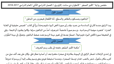 Photo of صف ثاني عشر فصل ثاني لغة عربية تلخيص رواية الأمير الصغير