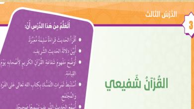 Photo of صف خامس فصل ثاني تربية إسلامية حل درس القرآن شفيعي