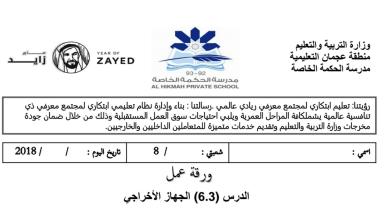 Photo of صف ثامن فصل ثاني علوم  ورقة عمل الجهاز الاخراحي