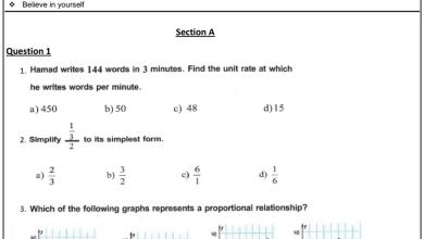 Photo of صف سابع فصل أول رياضيات امتحان تجريبي منهج إنجليزي