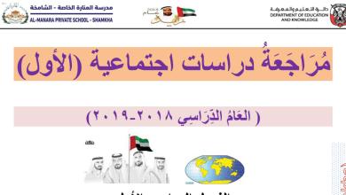 Photo of صف أول فصل أول دراسات اجتماعية مراجعة الوحدة الثانية وطني الإمارات