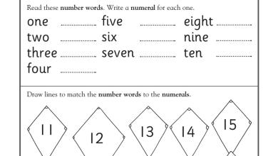 Photo of صف أول فصل أول رياضيات ورقة عمل الأرقام منهج إنجليزي