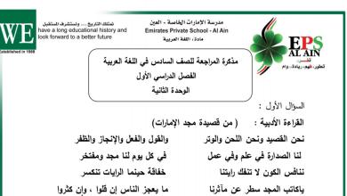 Photo of صف سادس لغة عربية مذكرة مراجعة الوحدة الثانية  فصل أول