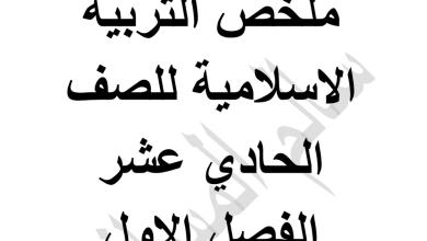 Photo of ملخص تربية إسلامية صف حادي عشر فصل أول