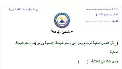 Photo of ورق عمل الجملة الاسمية والفعلية لغة عربية صف ثالث
