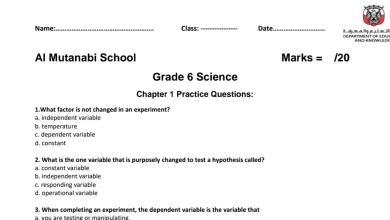 Photo of أوراق عمل علوم منهج إنجليزي صف سادس فصل أول