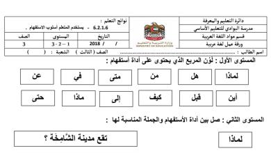Photo of ثالث فصل ثالث لغة عربية أوراق مراجعة