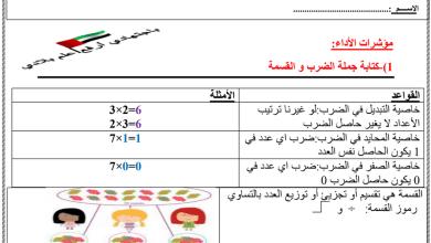 Photo of ورق عمل كتابة جملة الضرب والقسمة رياضيات صف ثالث فصل أول