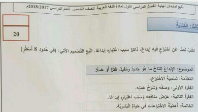 Photo of امتحان الكتابة 2017 لغة عربية صف خامس فصل اول