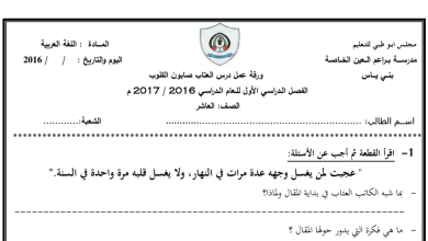 Photo of ورقة عمل درس العتاب صابون القلوب لغة عربية صف عاشر فصل أول