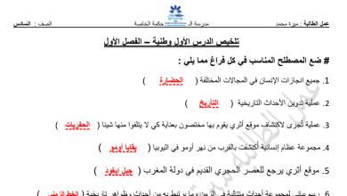 Photo of تلخيص وأوراق عمل الدرس الأول دراسات اجتماعية صف سادس فصل أول