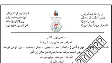 Photo of ورقة عمل درس الموقع والحركة علوم صف أول فصل أول