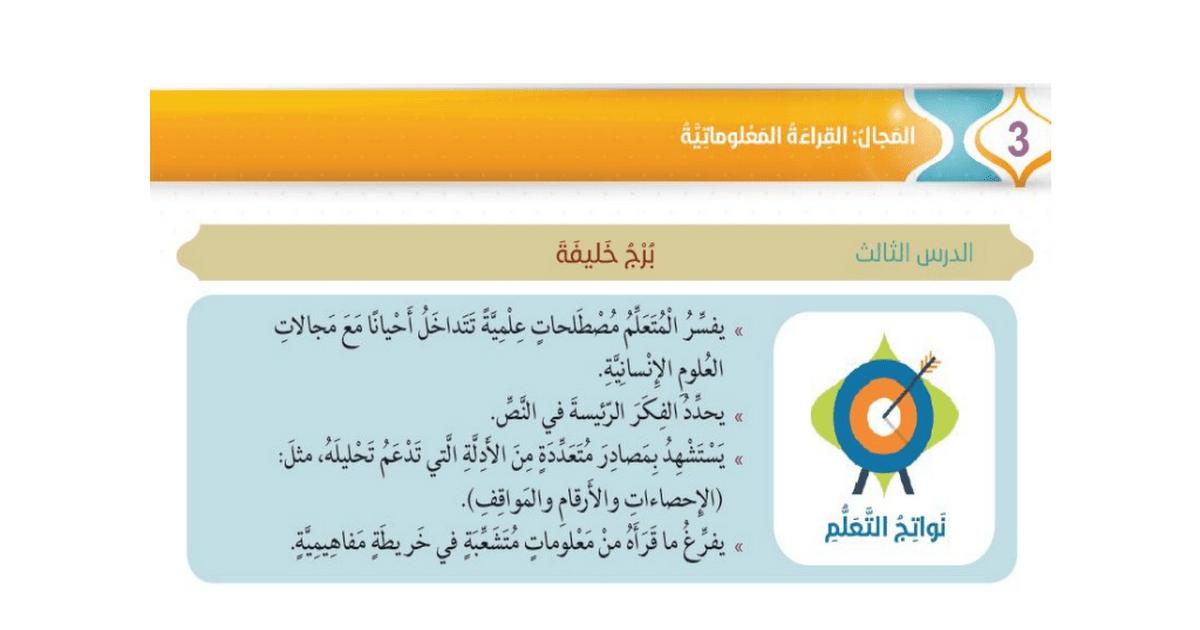 حل درس برج خليفة لغة عربية فصل أول صف سابع مدرستي الامارتية