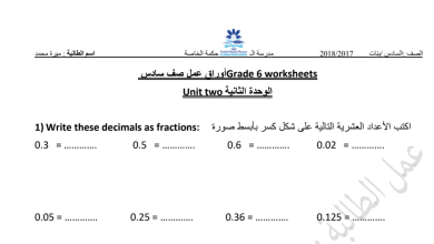 Photo of أوراق عمل 1الوحدة الثانية رياضيات فصل أول صف سادس