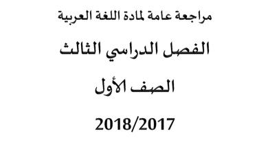 Photo of مراجعة عامة للغة العربية الفصل الثالث الصف الأول