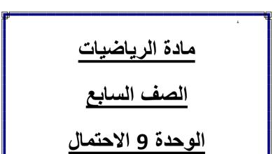 Photo of مراجعة الوحدة 9 الاحتمال رياضيات  الفصل الثالث الصف السابع