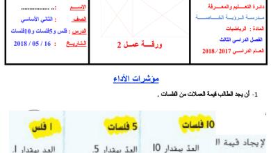 Photo of ورقة عمل (الفلس-5 فلسات -10 فلسات) رياضيات للصف الثاني