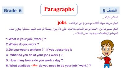 Photo of الصف السادس الفصل الثالث لغة انكليزية Paragraphs