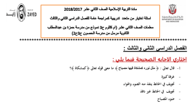 Photo of أوراق عمل (اختيار من متعدد) تربية إسلامية للصف الثاني عشر مع الإجابات