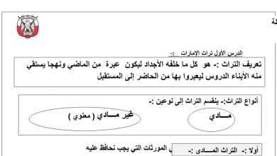 Photo of ملخص درس (التراث) مادة الدراسات الاجتماعية للصف الرابع