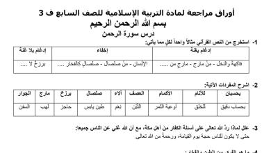 Photo of ملخص امتحان الوزارة للتربية الاسلامية الفصل الثالث الصف السابع