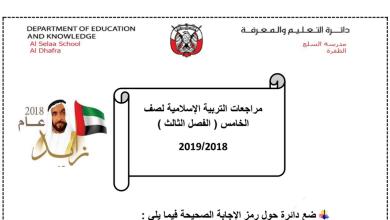 Photo of مراجعة تربية اسلامية للصف الخامس الفصل الثالث