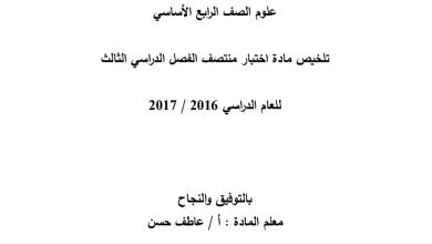 Photo of أوراق عمل شاملة لامتحان نهاية الفصل الثالث مع الحل علوم الصف الرابع