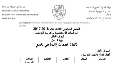 Photo of ورقة عمل خدمات زائدة في بلادي اجتماعيات للصف الثاني فصل ثالث