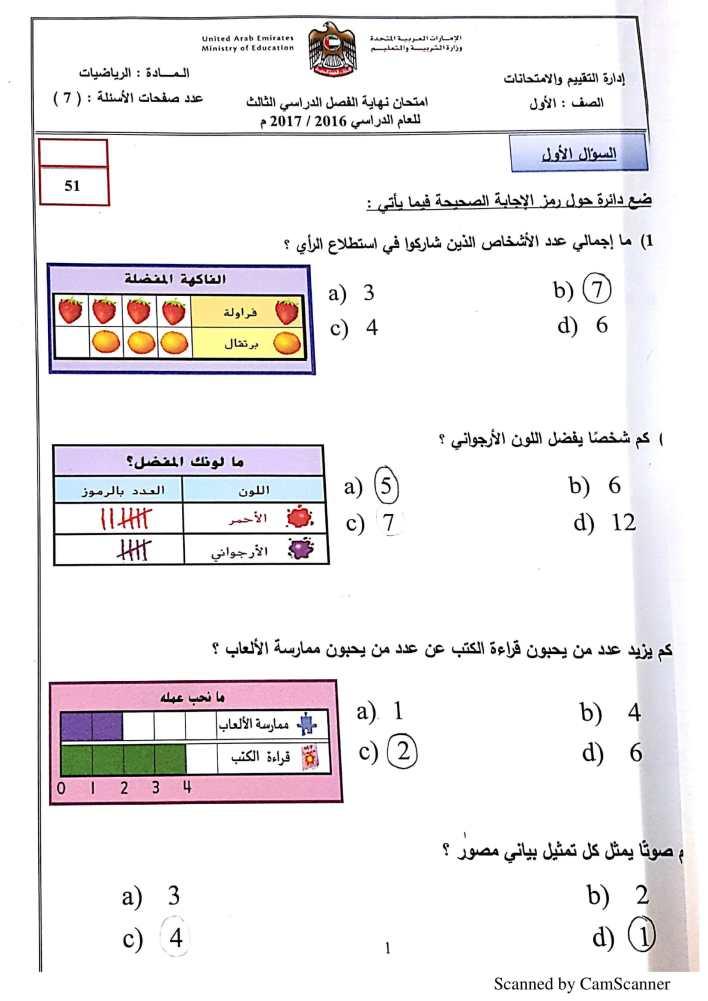 امتحان وزاري رياضيات الصف الاول الفصل الثالث 2016-2017