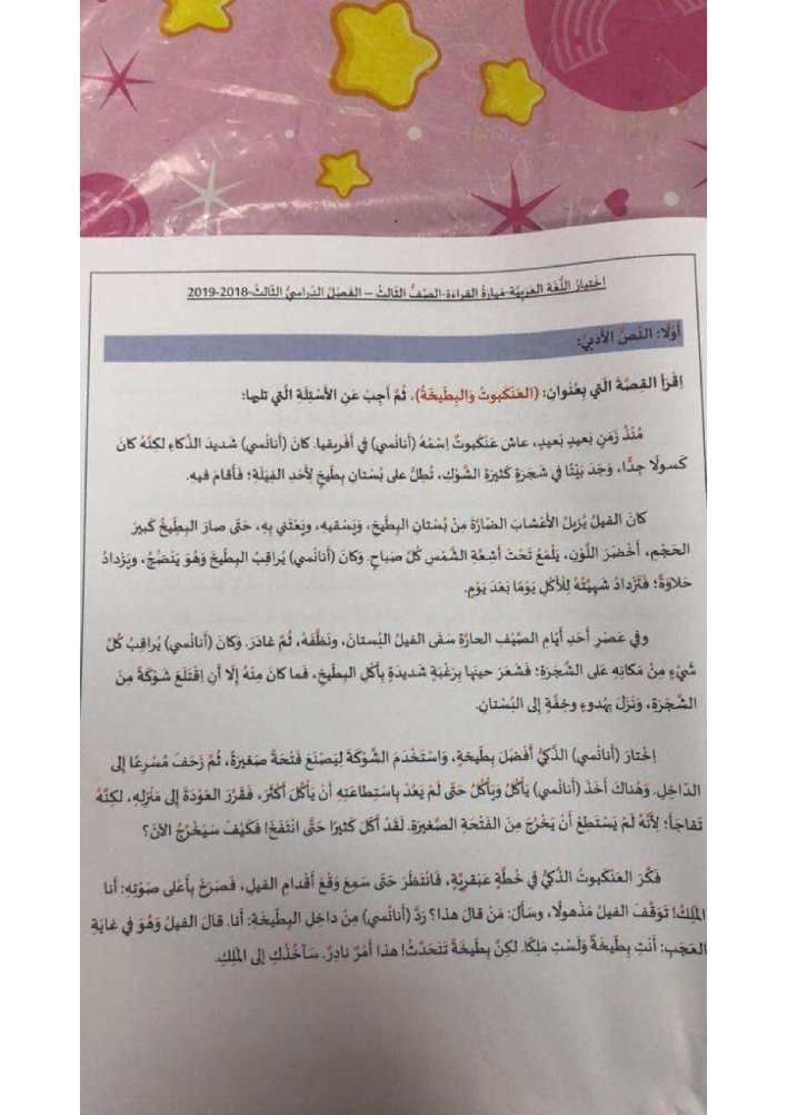 امتحان  لغة عربية الصف الثالث الفصل الثالث