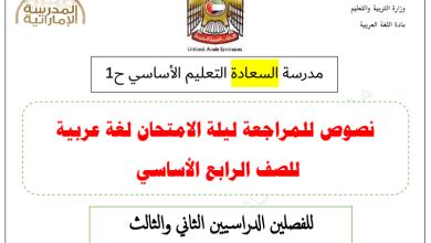 Photo of نصوص للمراجعة ليلة الامتحان لغة عربية الفصل الثاني والثالث صف رابع