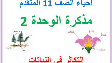 Photo of مذكرة وحدة التكاثر في النبات أحياء صف حادي عشر متقدم فصل ثالث
