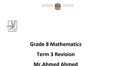 Photo of أوراق عمل مراجعة رياضيات منهج إنجليزي صف ثامن فصل ثالث